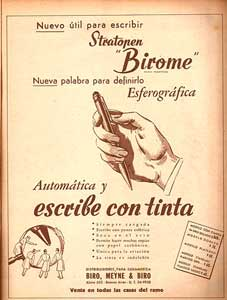 Birome's advertentie in het Argentijns magazine 'Leoplán' in 1945